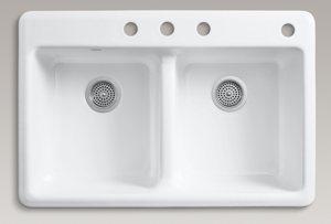 KOHLER K-5840-4-0 Anthem Cast Iron Self-Rimming Sink with