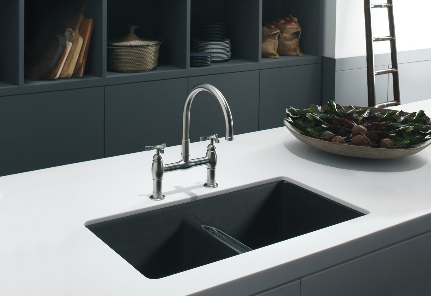 Kohler K-5840-5U-47 Anthem Cast Iron Undercounter Sink with Five ...