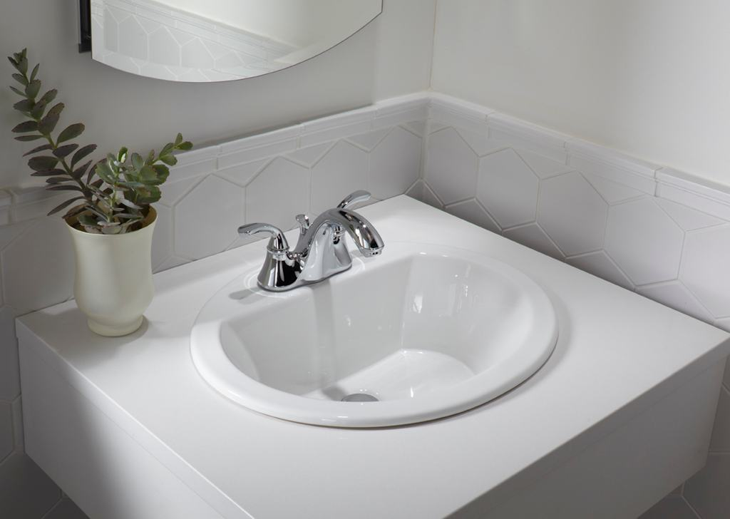 KOHLER K-2699-1-0 Bryant Oval Self-Rimming Bathroom Sink with Single ...