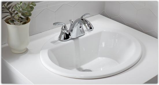 KOHLER K-2699-4-0 Bryant Oval Self-Rimming Bathroom Sink with 4-Inch ...
