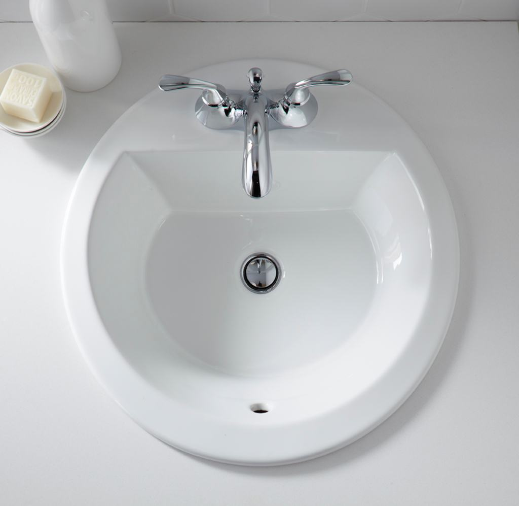KOHLER K-2714-4-0 Bryant Round Self-Rimming Bathroom Sink with 4 ...