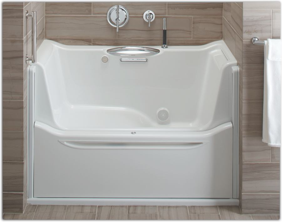 Kohler k 1913 r 0 elevance rising wall bath with right for Sit down shower tub