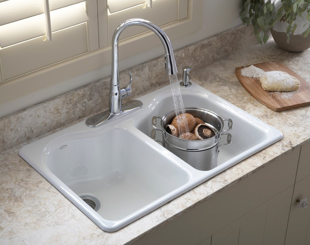 KOHLER K 5818 4 0 Hartland Self Rimming Kitchen Sink with Four Hole Faucet Drilling White