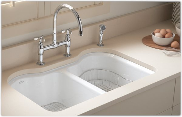 KOHLER K-5818-5U-0 Hartland Double Equal Undercounter Sink With Five-Hole Faucet Drilling, White