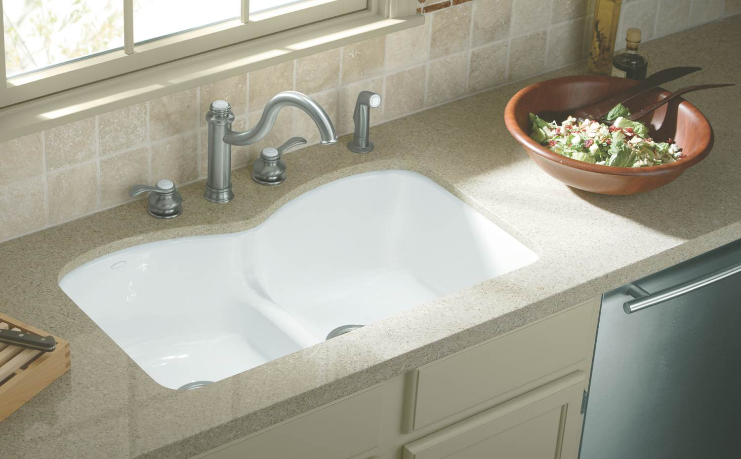 Kohler K-6626-6U-58 Langlade Smart Divide Undercounter Kitchen Sink ...