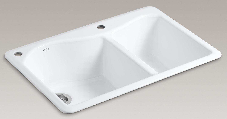 Kohler Lawnfield Sink : Kohler K-5841-2-47 Lawnfield Self-Rimming Offset Double Basin Sink ...
