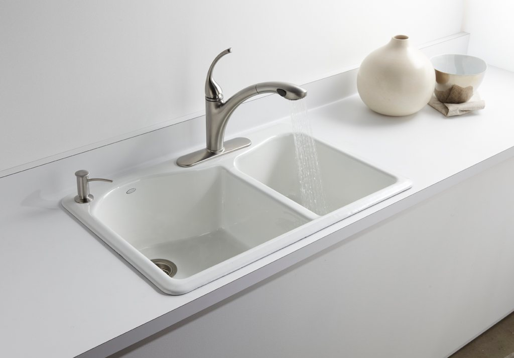 Kohler K 5841 4 K4 Lawnfield Self Rimming Offset Double Basin Sink