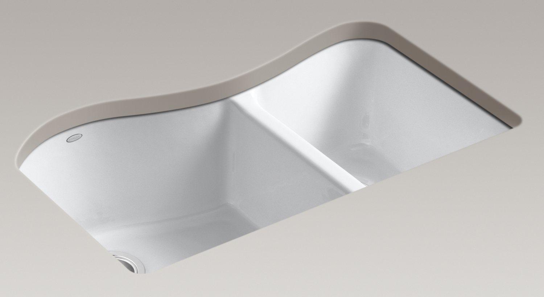 Kohler Lawnfield Sink : Kohler K-5841-4U-96 Lawnfield Undercounter Offset Double Basin Sink ...