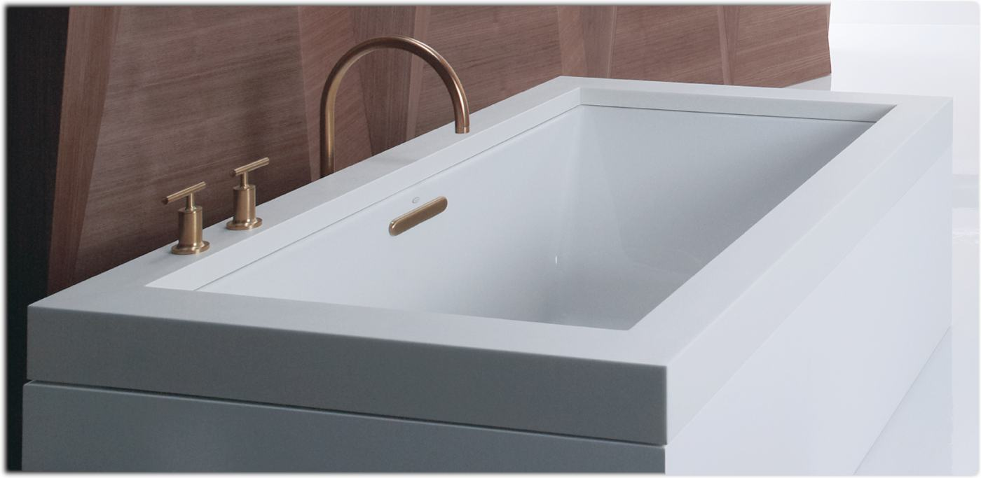 Kohler k 1136 0 underscore 5 5 foot acrylic bath white for Drop in tub sizes