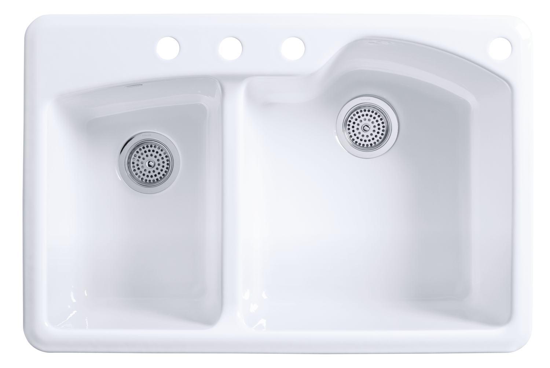B kohler kitchen sink Kohler Wheatland 2 hole white