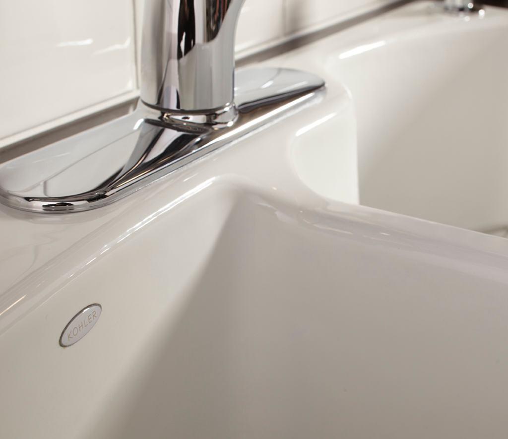 KOHLER K-5870-2-0 Wheatland Self-Rimming Offset Double Basin Sink with ...