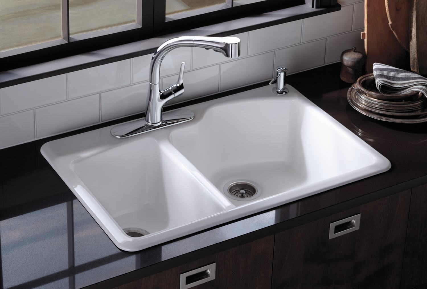 White Kitchen Sink With Chrome Faucet