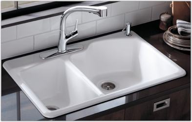 Kohler K-5870-2-7 Wheatland Self-Rimming Offset Double Basin Sink with ...