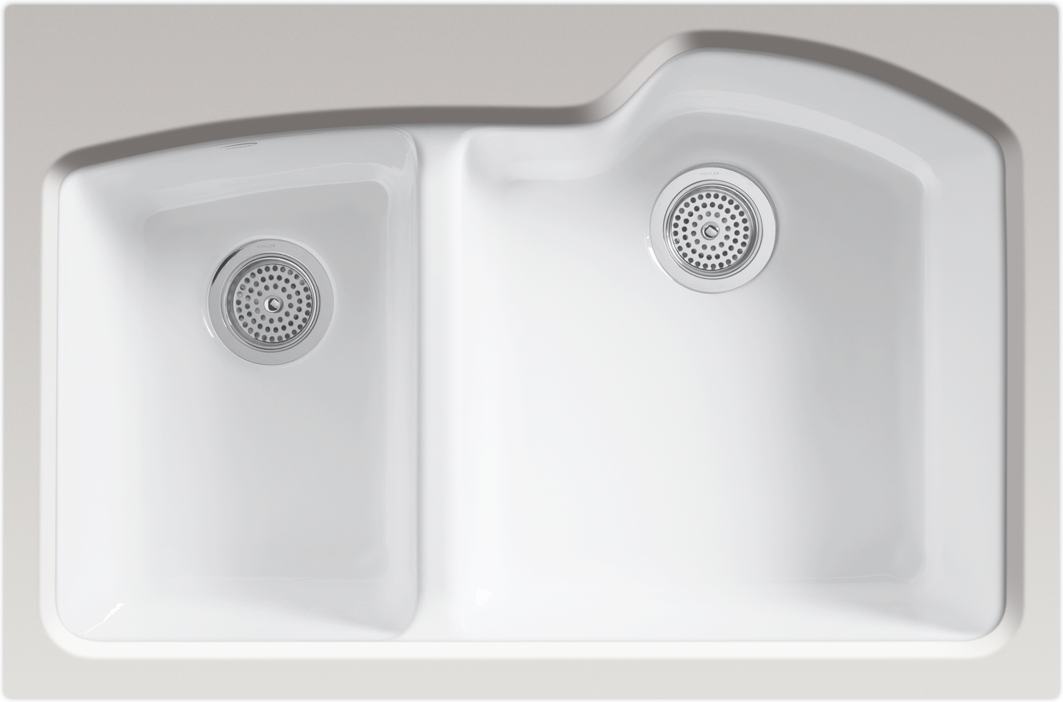 kohler wheatland 2 hole white the version of the wheatland enameled cast iron sink - Cast Iron Kitchen Sinks