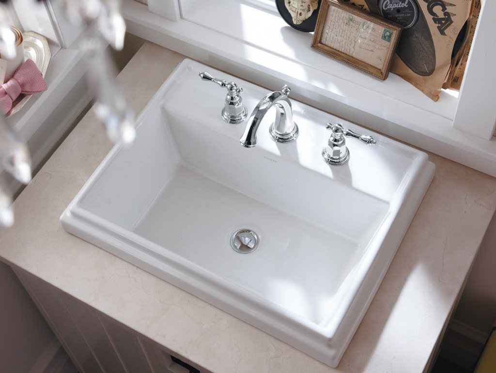 Kohler K 2991 8 96 Tresham Rectangle Self Rimming Bathroom Sink With 8 Inch Widespread Faucet