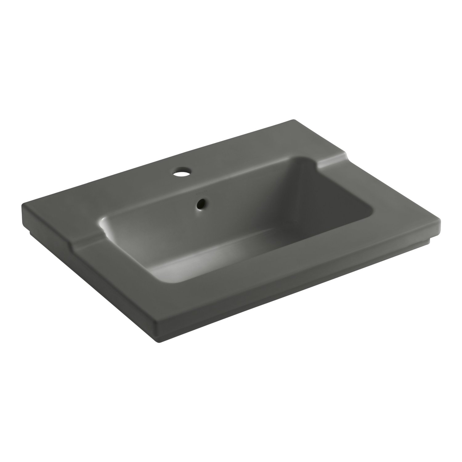 Kohler s Tresham K 2979 1 0 one piece surface and integrated lavatory is  available in 10 colors  including  from left  black  Mexican sand  and  thunder grey. KOHLER K 2979 1 47 Tresham One Piece Surface and Integrated