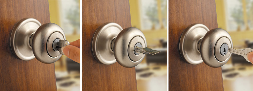 Kwikset Juno Entry Knob featuring SmartKey in Satin Nickel ...