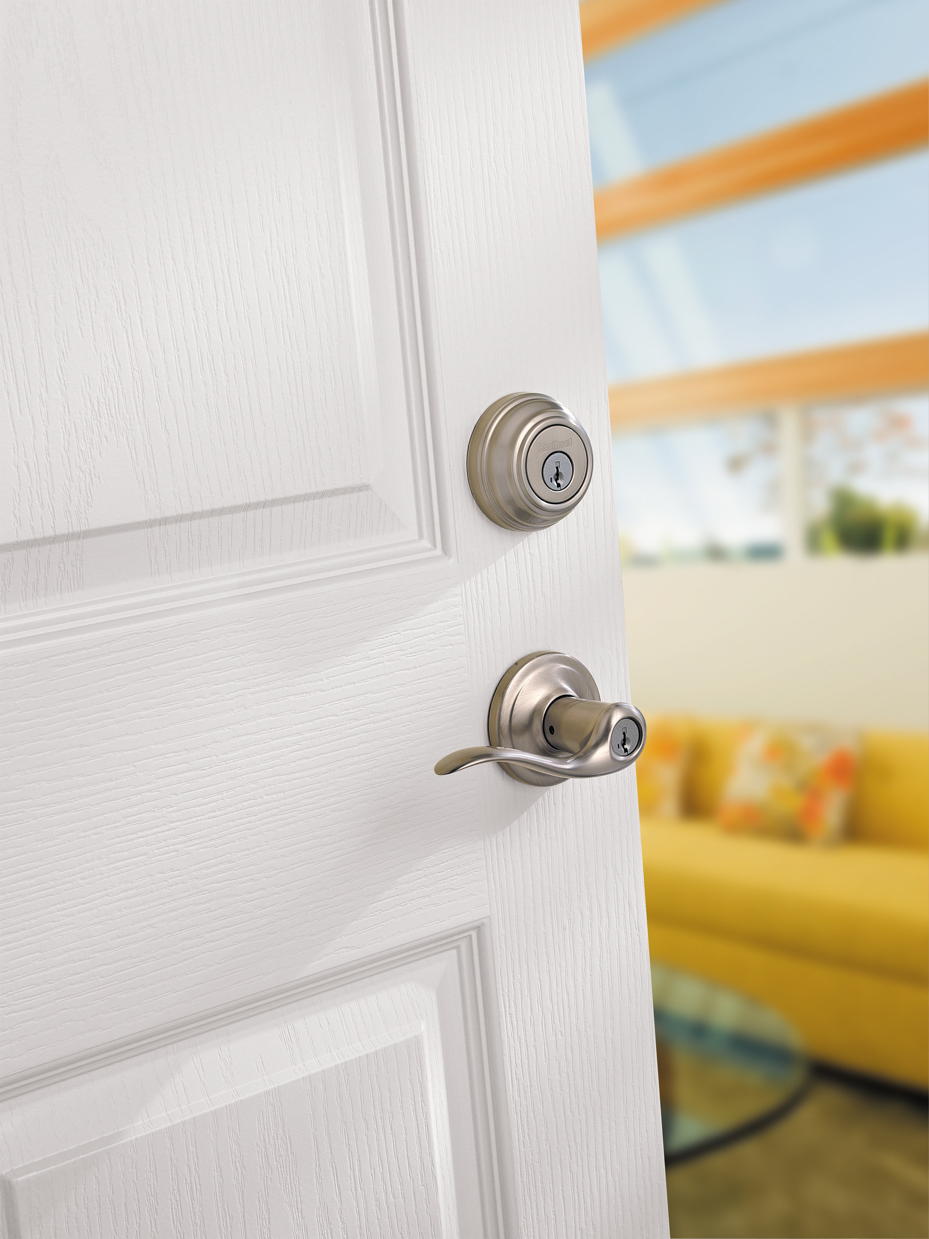 Kwikset Tustin lever SmartKey & Kwikset Tustin Entry Lever featuring SmartKey in Satin Nickel ... Pezcame.Com