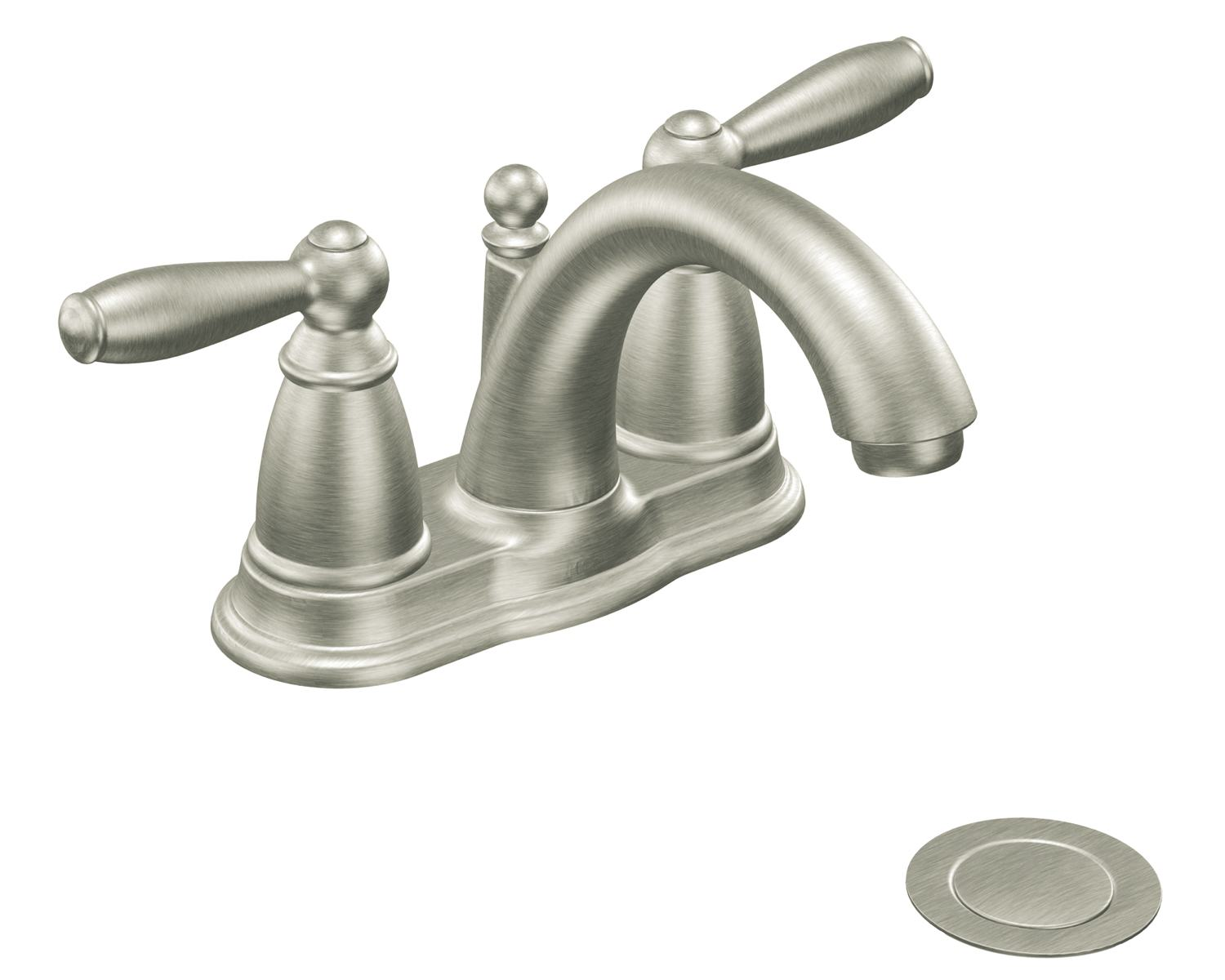 Moen 6610bn Brantford Two Handle Low Arc Centerset Bathroom Faucet With Drain Assembly Brushed