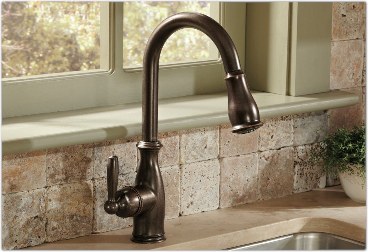 Moen 7185orb brantford one handle high arc pull down for Best kitchen sinks and faucets