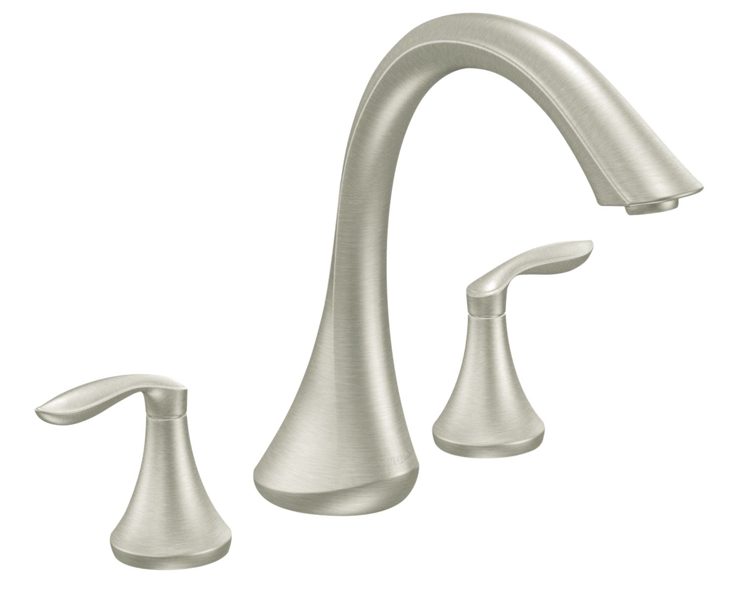 Eva Roman nickel. Moen Eva Two Handle High Arc Roman Tub Faucet without Valve
