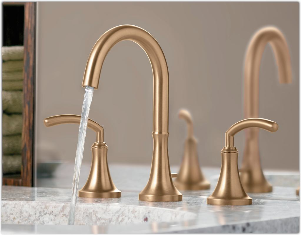 7 Faucet Finishes For Fabulous Bathrooms: Moen TS6520 Icon Two-Handle High Arc Bathroom Faucet