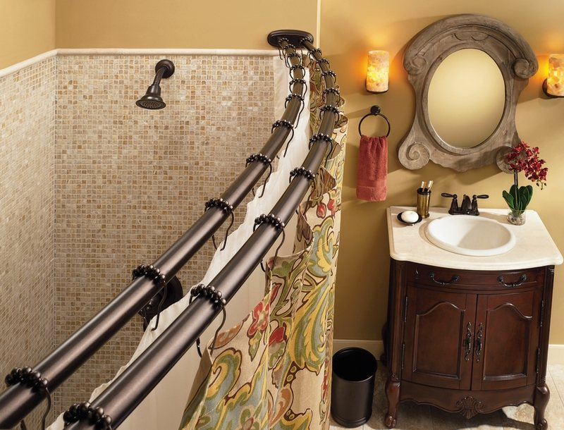 Amazon.com: Moen DN2141BN Adjustable Double Curved Shower Rod ...