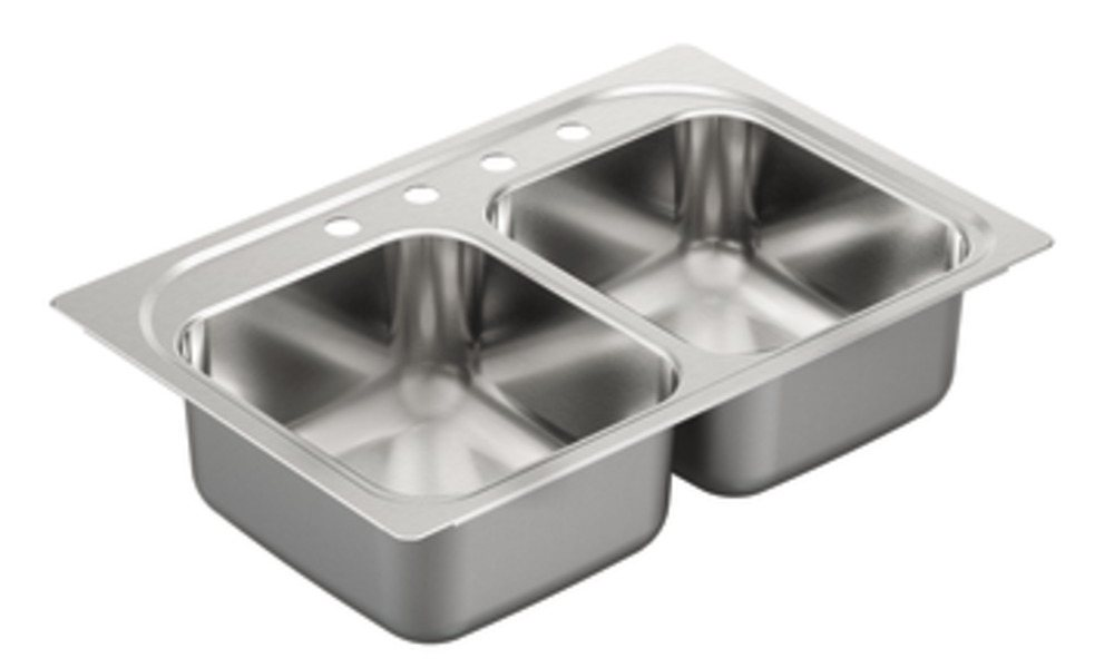 double bowl configuration with 20 gauge stainless steel construction  view larger   moen g202134 2000 series 20 gauge double bowl drop in sink      rh   amazon com