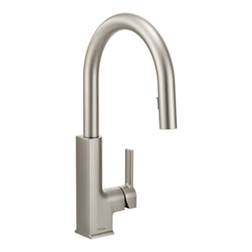 The sleek contemporary sto pulldown kitchen faucet in spot resist stainless