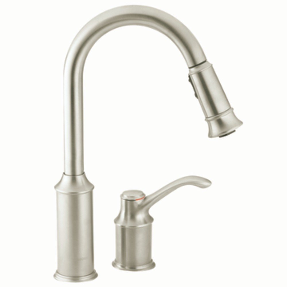 BU moen brantford kitchen faucet The Aberdeen kitchen faucet in classic stainless view larger
