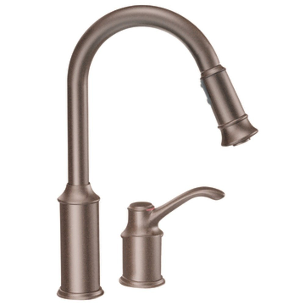 moen bronze kitchen faucets moen 7590orb aberdeen one handle high arc pulldown kitchen 20812