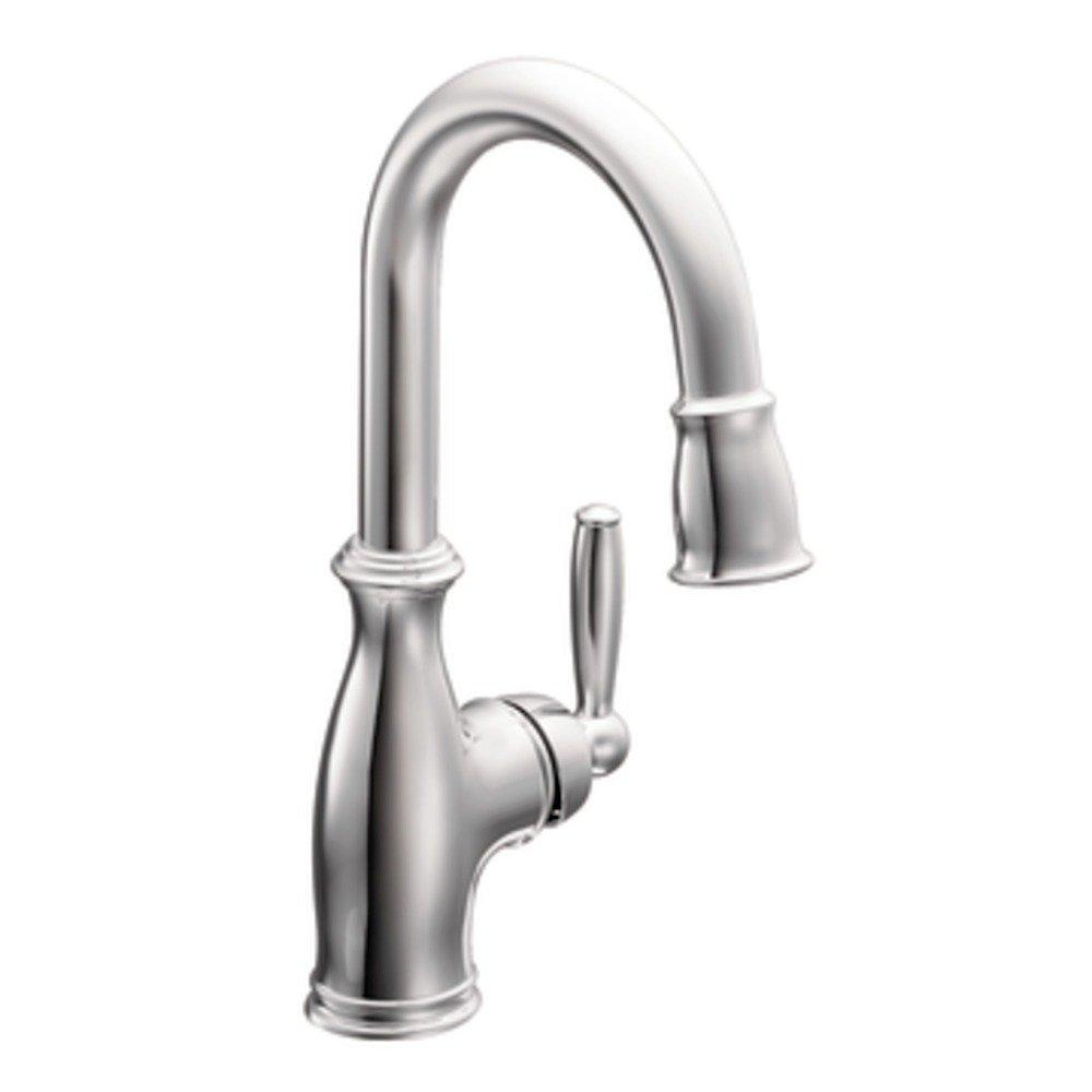 Moen 5985 brantford one handle high arc pulldown single mount bar faucet chrome bar sink for Moen brantford bathroom collection