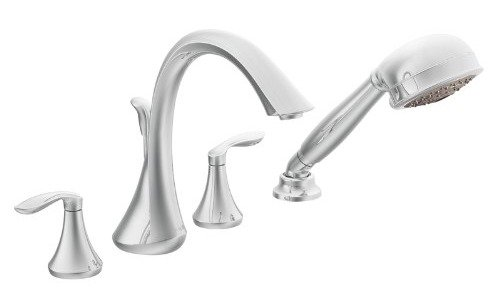 Moen T944 Eva Two-Handle High Arc Roman Tub Faucet and Hand Shower ...