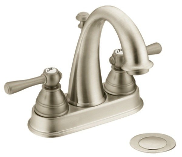 Moen 6121BN Kingsley Two-Handle High Arc Bathroom Faucet, Brushed ...