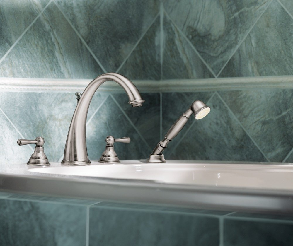 Moen T922BN Kingsley Two-Handle High Arc Roman Tub Faucet and Hand ...