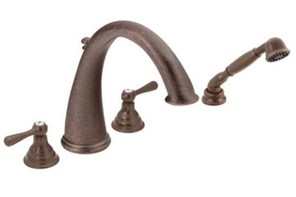 Shop Classic High Spout Oil Rubbed Bronze Bathroom Faucet: Moen T922ORB Kingsley Two-Handle High Arc Roman Tub Faucet