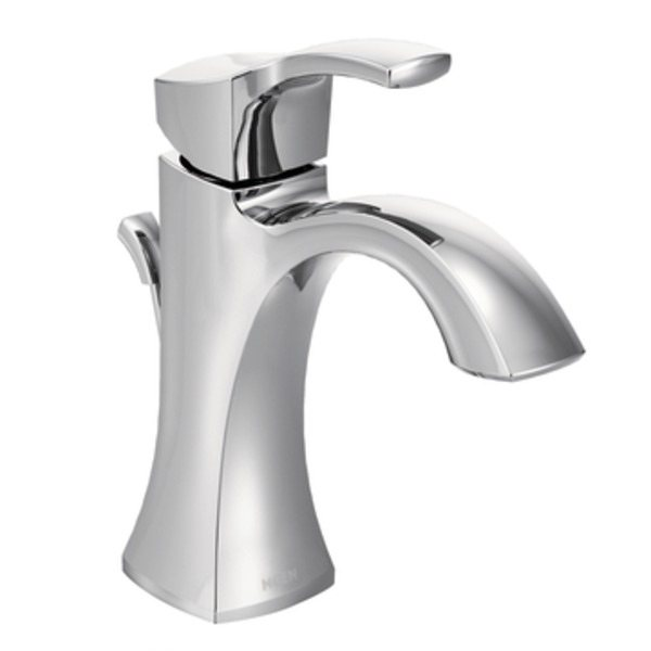 The Voss single handle bathroom faucet in chrome  view larger. Moen Voss One Handle High Arc Bathroom Faucet with Drain Assembly