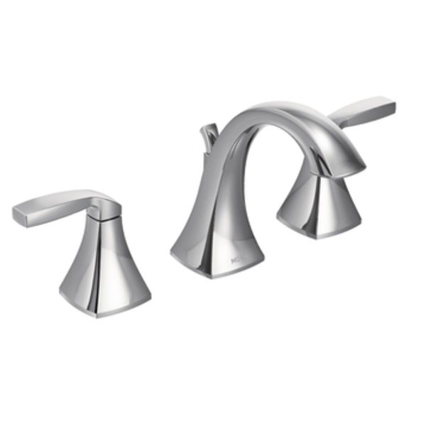 The Voss high arc bathroom faucet in chrome  view larger. Moen Voss Two Handle High Arc Widespread Bathroom Faucet without