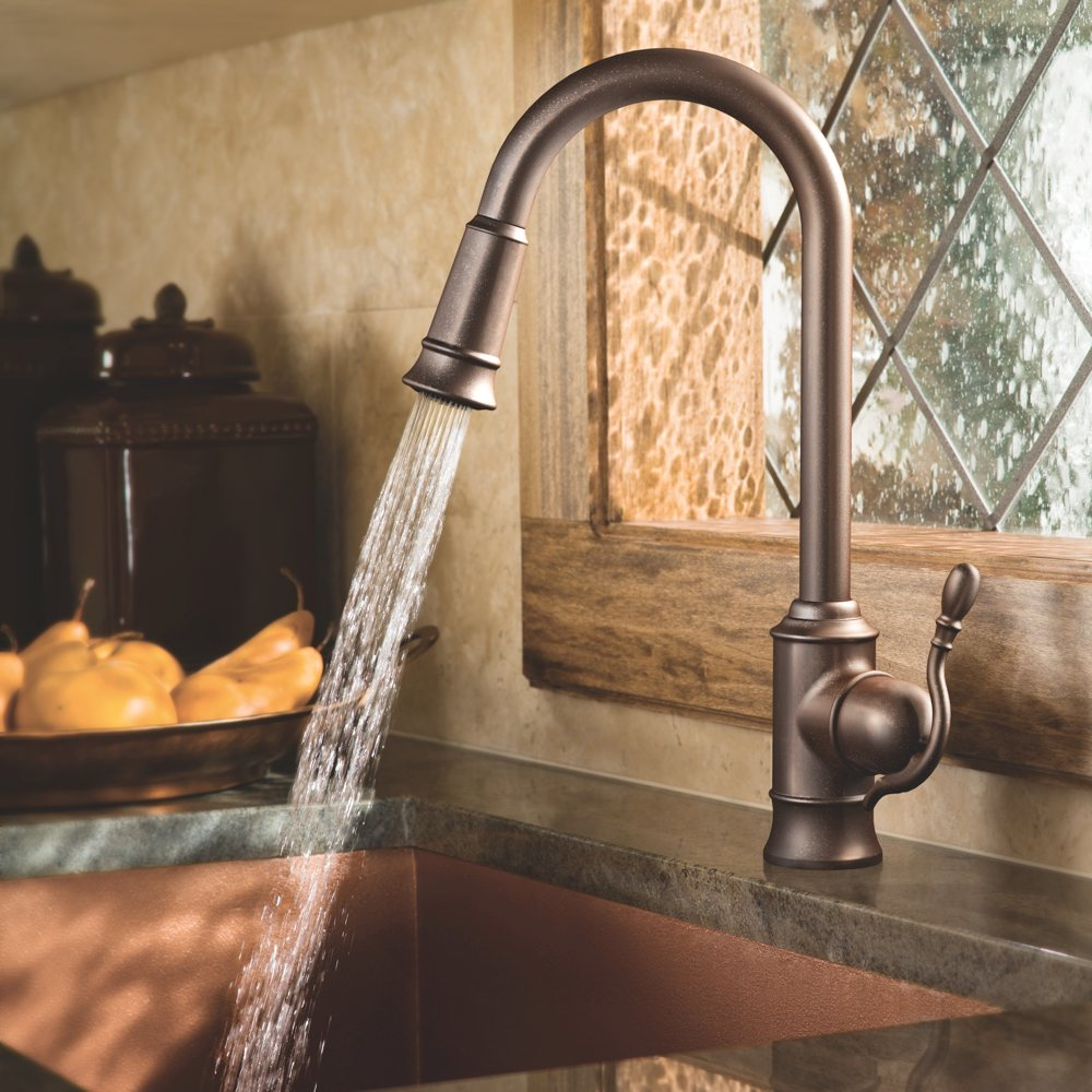high arc design with pulldown spout view larger moen s woodmere collection of kitchen faucets