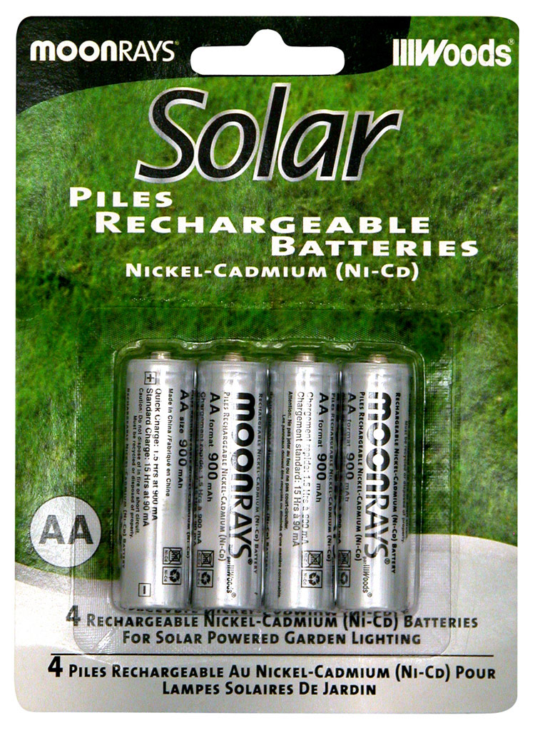 moonrays rechargeable nicd batteries for outdoor solar powered lights aa 1 2v 600mah 4 pc. Black Bedroom Furniture Sets. Home Design Ideas