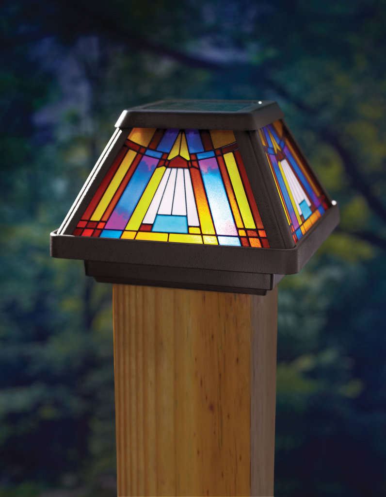 Moonrays post cap lamp in stained glass design 6x brighter solar moonrays stained glass post cap this solar powered led aloadofball