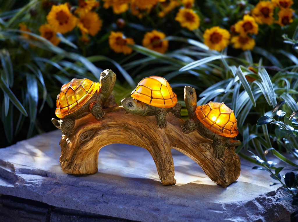 Moonrays 91515 turtles on a log solar powered outdoor led light outdoor figurine lights - Decorative garden lights ...
