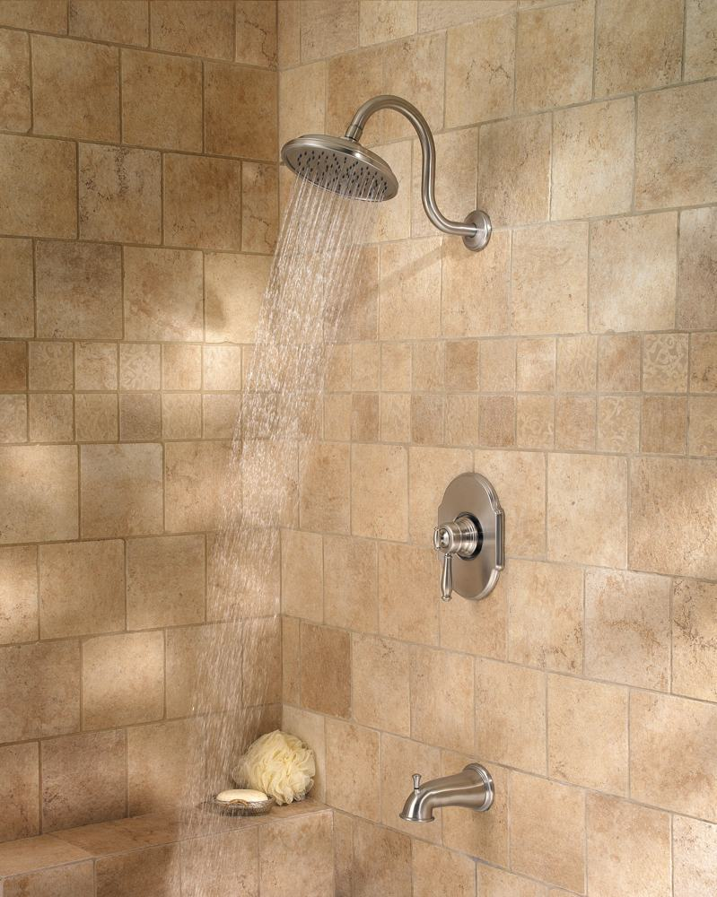 The Hanover tub and shower fixture in brushed nickel ( view larger ).
