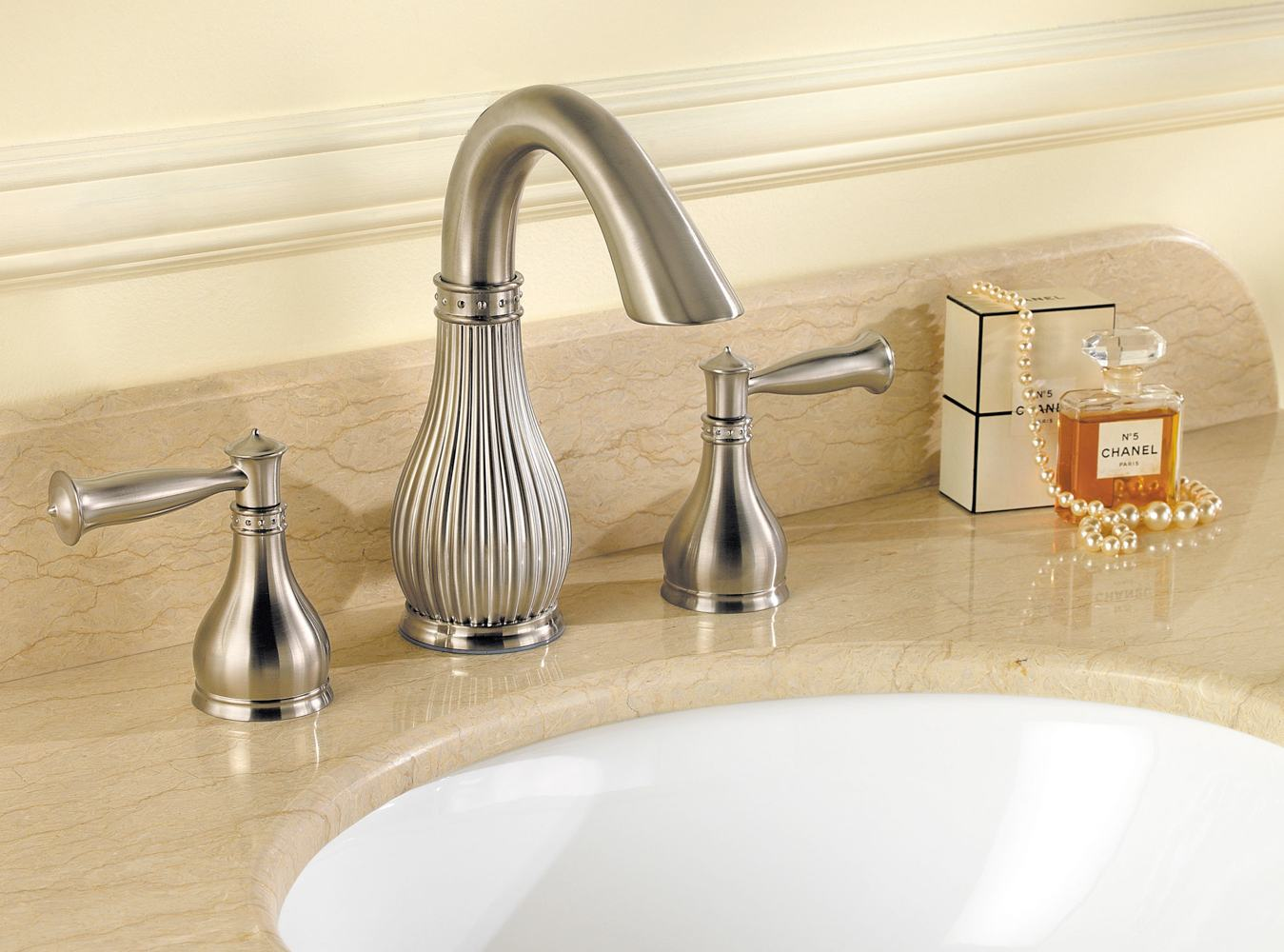 Widespread Bathroom Faucet Clearance : ... Widespread Bathroom Faucet, Tuscan Bronze - Touch On Bathroom Sink