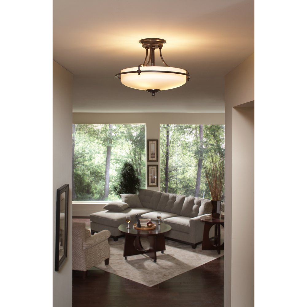 Light Store: Quoizel GF1717PN Griffin 3 Light 17-Inch Semi Flush Mount