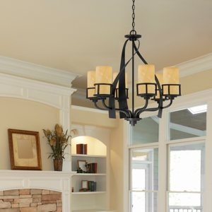 """quoizel-kyle-KY5006IB-room-sm Quoizel KY5006IB Kyle Faux Alabaster Chandelier, 6-Light, 600 Watts, Imperial Bronze (28"""" H x 28"""" W)"""