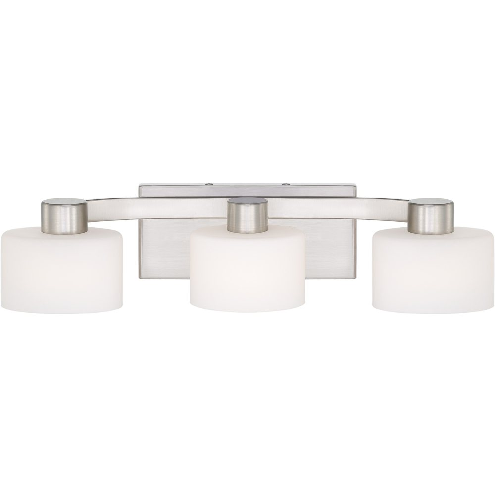 Quoizel tu8603bn tatum 3 light bath fixture brushed for Brushed nickel bathroom lighting fixtures