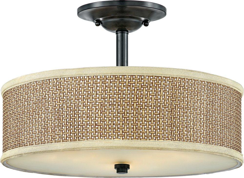 online store 41ab8 2073b Quoizel ZE1717K Zen Drum Rattan Semi Flush Mount Ceiling Lighting, 3-Light,  300 Watts, Mystic Black (13