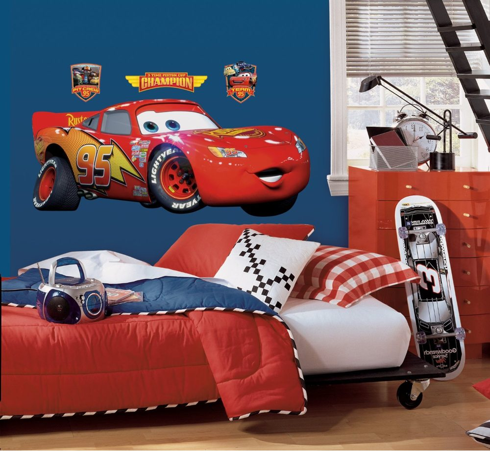 Roommates rmk1518gm disney pixar cars lightning mcqueen peel stick giant wall decal wall - Disney pixar cars wall mural ...