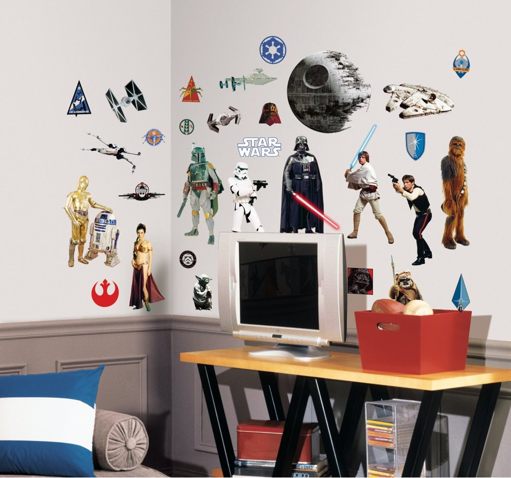 31 classic Star Wars decals (view larger). & RoomMates RMK1586SCS Star Wars Classic Peel and Stick Wall Decals ...
